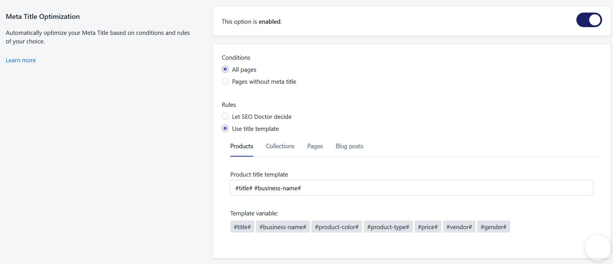 SEO Doctor Meta Title Optimization
